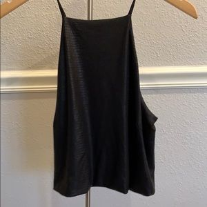 Snake skin black leather tank with open back